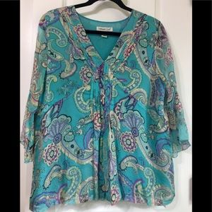 Tuorquoise, lined, frilly, feminine paisley top